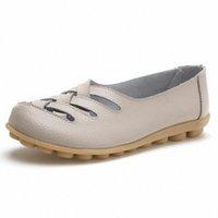 Kadın Flats Bölünmüş Deri Kesim Sonbahar Yaz Ayakkabı Kadın Eğlence Loafer'lar Yumuşak Alt Anti Kayma Anne Düz Ayakkabı Kahverengi Ayakkabı Örgün Sh S6UX #
