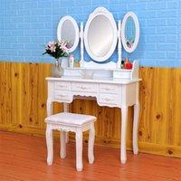 أثاث غرفة نوم فتاة تسريحة تصميم دقيق قابل للطي 3 المرايا مع 7 أدراج خلع الملابس طاولة بيضاء