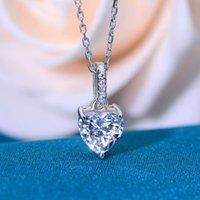 HBP Moda Joyería de Lujo 925 Plata Collar de Alto Carbono Colgante * 7 ins Simulación Mossan Diamante Amor Cadena de clavícula