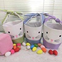 Partido Pascua Conejito Cubo Cubo Bob Bag Bolso Personalidad Diseño portátil Dibujos animados Bunny Cesta Cubo de huevo creativo para niños Regalos de vacaciones