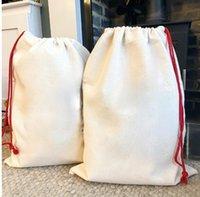 Favor de la fiesta de Navidad sublimación en blanco Santa sacos de Santa DIY PERSONALIZADA PERSONAJE BOLSA DE REGALO DE XMAS Bolsas de regalo de bolsillo Transferencia de calor