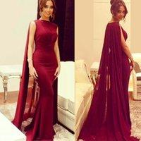 Dubai Mermaid Evening Dresses with Shawl Fashion Burgundy Floor Length Arabic Fishtail Kaftan Long Prom Dress Elegant With Cape