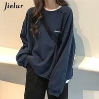 Jielur New Kpop Letter Hoody Fashion Fashion coreano Moletom Chic Felpe da donna Cool Navy Blue Grey Felpe con cappuccio per le donne M-XXL 20093030