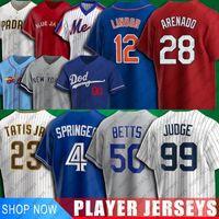 Béisbol 28 Nolan Arenado 4 George Springer Jersey 12 Francisco Lindor 50 Mookie Betts Jerseys 99 Aaron Juez 23 Fernando Tatis JR Jersey