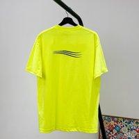 2021ss Sarı Pembe Katı Renk Logo Dalga Tee Klasik Mektup Baskı Erkek Kadın Nefes Kısa Kollu Yüksek Sokak T-shirt Yaz Tişörtleri