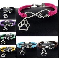 Sevimli Evcil Köpekler Kedi Hayvan Ayı Paw Charms Kolye Aşk Infinity Bilezik Gümüş Kaplama Deri Zincir Simplewomen Vintage Takı PS1503