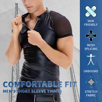 Błyszczący faux PU skórzane koszulki męskie fitness odchudzanie siłownia shapewear o-neck topy mokry wygląd krótki rękaw rajstopy tees bokser bielizna