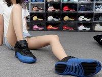 Jumpman 12s أحذية كرة السلة TRAVIS SCOTTS AJ Air Jordon12 Kobsidian University الأزرق عالية الرياضة الخوف الرجال النسائية Hyper Royal UNC أعلى جودة الحجم US13 مع نصف