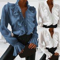 여성용 블라우스 셔츠 V 넥 여성 우아한 파란색 흰색 주름 전면 버튼 레트로 사무실 레이디 봄 가을 긴 소매 캐주얼 탑스