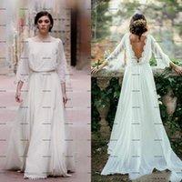 Lace Chiffon Bohemian Wedding Dresses 2022 Long Sleeve Backless Jewel Neck Outdoor Beach Country Bridal Dress Little Budget