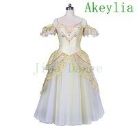 Freies Verschiffen Gold Court Romantisches Ballett Tutu Kleid Weiß Silber Lange Kleid Ballett Professionelle Tutu Kleid Mädchen Ballerina Kostüm Frauen