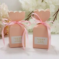Gift Wrap Boxes Wedding Favors Candy Chocolate Paper Box Bags With Ribbon Party Packaging Supplies Vase Shape Package Decoration