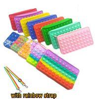 Fidget Push Bubble Pencil Case Sling Children Squeeze Toy Anti-stress Soft Squishy Kids Toys Gifts Finger Pop Dimple Fidget Bag with Rainbow Strap