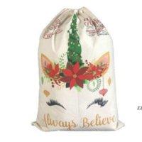 Рождественская подарочная сумка Симпатичные Drawstring Холст Unicorn Santa Sack 2 Стиль Хорошее Качество Рождественские Украшения Орнамент Santa HWD8331