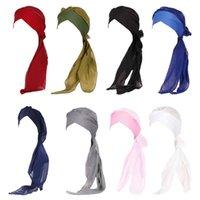 Beanie Skull Caps Women Muslim Elastic Turban Chiffon Long Tail Ruffle Hat Solid Color Head Scarf Wrap Forehead Cross Band Cancer Chemo Bean