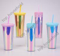 16oz 450ml 24oz 700ml Colored Tumblers Double Wall Straws Mug Plastic Reusable Coffee Drinking Cup