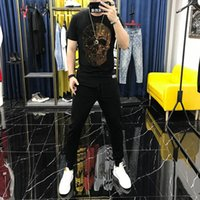 Men's Tracksuits Suit Korean Version Of The Design Drill Skull Tracksuit Black Sportswear Cotton Loose T-Shirt Sweatshirt + Pants