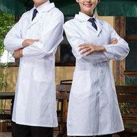 무료 병원 실험실 코트 대형 실험실 유니폼 화이트 긴 소매 의료 의류 코트 의사 병원 과학자 학교 유니폼