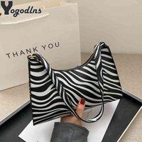 Bags Fashion Zebra Print Women Luxury Handbag Pu Leather Simple Underarm Shoulder Female Daily Design Baguette Totes Purse Pouch U6EV