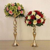 """Mumluklar Altın 50 cm / 20 """"Metal Şamdan Çiçek Vazo Masa Centerpiece Olay Raf Yol Kurşun Düğün Dekorasyon"""