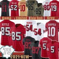 "Trey Lance 85 George Kittle 75th Jersey Futebol Fred Warner Nick Bosa San ""Francisco"" 49ers ""Colin Kaepernick Jimmy Garoppolo Jerry Arroz Patrick Willis Ford"