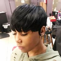 Pixie Cut full machine none lace front Wig for Women Short Straight Black human hair Wigs with Bangs