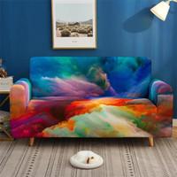 غيوم ملونة مطبوعة أريكة يغطي الكل شاملة الأريكة غطاء 4 حجم الغبار واقية عدم الانزلاق مرونة أريكة غطاء الرجعية ديكور المنزل غطاء أريكة