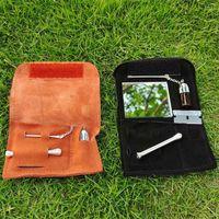 Новый 100% натуральный кожаный табачный мешок сумка для мешка Snuff Snorter инструмент Sniffer Color Hoover Pover Pougher Pipe трубы куриновой площадью бутылка коробка 437 S2