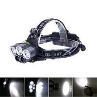 Lâmpadas de cabeça mais poderosas 800lm 20w DG02 5-LED Cabeças recarregáveis luz lâmpada de iluminação portátil de iluminação portátil luzes 2 * 18650 Reparação do carro da bateria para camping, peixe branco