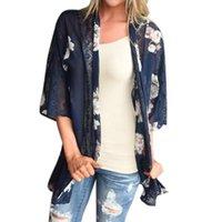 Women's Jackets Winter Coat Women Casual Sport Plus Size Print Beach Chiffon Loose Shawl Kimono Cardigan Top Cover Blouse K107