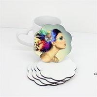 DIY التسامي فارغة كوستر خشبي كوب كوب منصات MDF ترقية الحب جولة زهرة شكل كأس حصيرة DHB7508