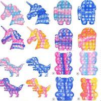 20CM Tie Dye Push Pop Fidget Toys Sensory Large Big Size Popet Bubble Finger Puzzle Board Game Unicorn Dinosaur Butterfly Bear Rainbow Shaped Poo-its H923NS2H