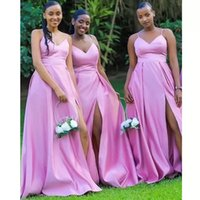 Lilac Bridesmaid Dresses Satin 2022 Designer Spaghetti Straps Side Slit Floor Length Plus Size Maid of Honor Gown Country Beach Wedding Evening vestidos