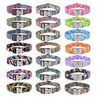 21 Color Adjustable Nylon Custom Dog Collars Free Engraved Name ID Tag Personalized Sublimation Blank Dogs Collar Small Large Product Plaid Unisex Pet Collaring B28