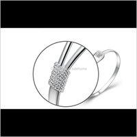 Braccialetti per gioielli Braccialetti 925 Sterling Sterling Rose Flower Polsino Fashion Bangle per le donne Gioielli Drop Consegna 2021 OOCQI