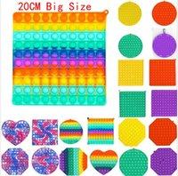 20 cm Big Size Jumbo Fidget Bubble Poppers Board Toys Sensory Toys Tie Dye Rainbow Push PUP POP Bubble Popper Puzzle con moschettone Simple Key Ring Game Game