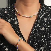 Boho 여성 화이트 진주 여러 가지 빛깔의 크리스탈 유약 유리 구슬 여성 쥬얼리 세트에 대 한 손수 만든 팔찌 목걸이