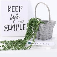Decorative Flowers & Wreaths Artificial Succulent Plant 5-strand Soft Plastic Wall Hanging Ornaments For Home Kitchen Garden