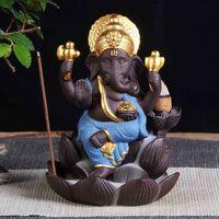 Lâmpadas de fragrância Cerâmica Ganesha Censer Elefante de Deus Estátuas Buddha Backflow Queimador Home Escritório Incenso Cones Venda Thurible Kapy