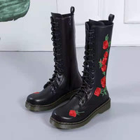 Boots Autumn Winter Rain 2021 Women Shoes Knee High PU PlatformThicken Retro Knight Low-heeled Botas