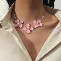 Pendant Necklaces Style Korean Gold Pink Flower Pearls Clavicle For Women Girls Bohemia Wedding Party Jewelry Pearl Accessory