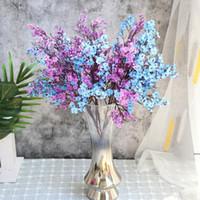Beyaz Yapay Çiçekler Kiraz Çiçekleri Gypsophila Sahte Bitkiler DIY Düğün Buket Vazolar Ev Dekor Için Faux Noel Şubesi HWD5254