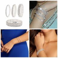 디자이너 귀걸이 약혼 반지, 팔찌와 금 목걸이는 여성의 즐겨 찾기 매력 팔찌 간단한 전체 다이아몬드 슈퍼 반짝이 탄성 1 ~ 5 행