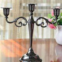 Metall 7 / 5kopf vergoldet Kerzenständer Vertikale Zinklegierung Hohe Qualität Säule Hochzeit Dekoration Dekoration Candlestick 210722
