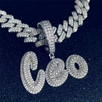 Hip Hop Custom Name Cubic Zircon Iced Out Letters Chain Pendants Necklaces For Men Jewelry Cuban Chain