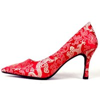 Dress Shoes Women's wedding shoes High-style Chinese red heels TJQZ