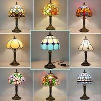 TIFFANY MEDITERRANÉE LED LED Lampe de bureau RETRO E27 US Vintage Vintage Baroque Vitrail Décor Chambre à coucher Chambre à coucher Table de chevet Table Lumière