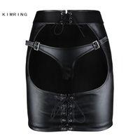 Kimring Gotik Deri Etek Büyük Göt Açık Butt Clubwear Mini Etek Seksi Sıkı Kalça Etek 210310