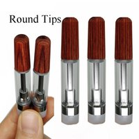 Round Tips Vape Cartridges WOOD Mouthpiece Carts 0.8ml 1ml Atomizers TH205 Ceramic Coil Empty Vape Pen Screw In wood drip tip Thick Oil Foam packaging