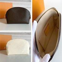 شحن مجاني أعلى جودة قماش أكسدة الجلود التجميل الحقيبة m47515 العلامة التجارية الشهيرة مصمم zippy الزينة حقيبة حقيبة ماكياج
